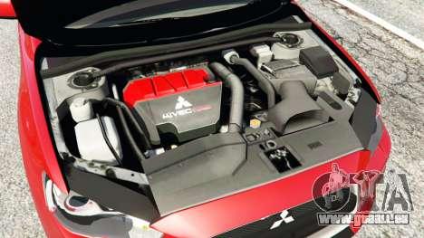 GTA 5 Mitsubishi Lancer Evolution X arrière droit vue de côté
