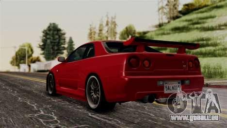 Nissan Skyline GT-R R34 2012 pour GTA San Andreas laissé vue