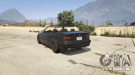 GTA 5 BMW M3 E36 Cabriolet 1997 arrière vue latérale gauche