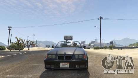 GTA 5 BMW M3 E36 Cabriolet 1997 arrière droit vue de côté