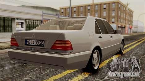 Mercedes-Benz W140 400SE 1992 pour GTA San Andreas laissé vue
