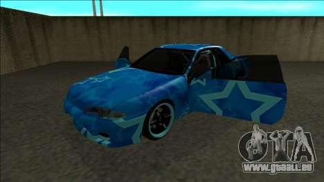 Nissan Skyline R32 Drift Blue Star pour GTA San Andreas vue arrière