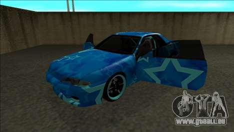 Nissan Skyline R32 Drift Blue Star für GTA San Andreas Rückansicht