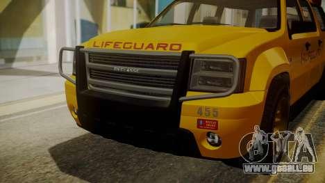 GTA 5 Declasse Granger Lifeguard IVF für GTA San Andreas Rückansicht