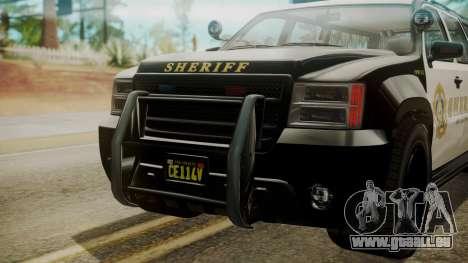 GTA 5 Declasse Granger Sheriff SUV IVF für GTA San Andreas Rückansicht