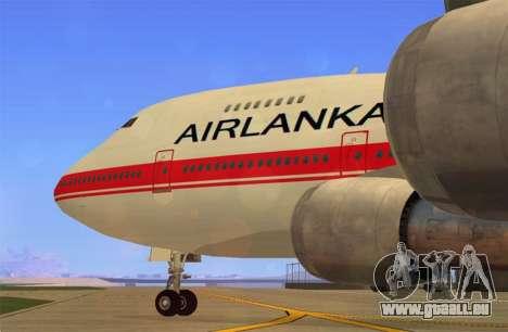 Boeing 747-200 Air Lanka für GTA San Andreas zurück linke Ansicht