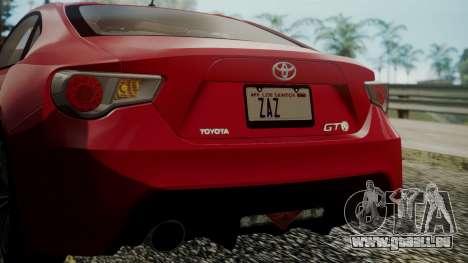 Toyota GT86 2012 LQ pour GTA San Andreas vue de dessous