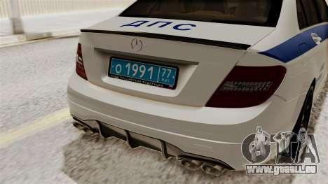 Mercedes-Benz C63 AMG STSI le Ministère de l'int pour GTA San Andreas vue arrière