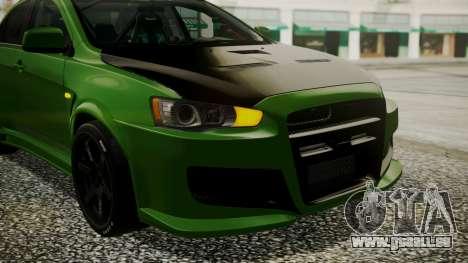 Mitsubishi Lancer Evolution X WBK pour GTA San Andreas vue intérieure