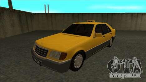 Mercedes-Benz W140 500SE Taxi 1992 pour GTA San Andreas sur la vue arrière gauche
