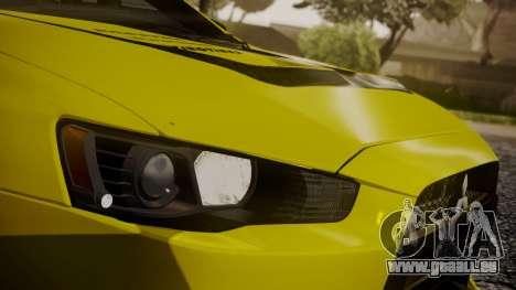 Mitsubishi Lancer Evolution X 2015 Final Edition pour GTA San Andreas vue de dessous