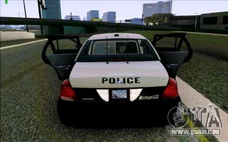 Weathersfield Police Crown Victoria für GTA San Andreas Unteransicht