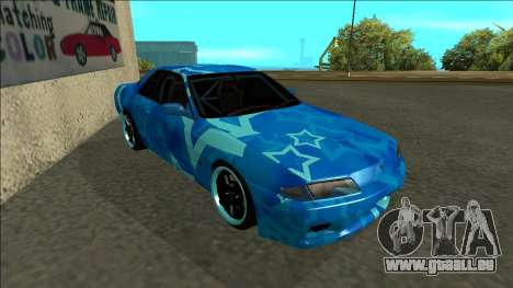 Nissan Skyline R32 Drift Blue Star pour GTA San Andreas laissé vue