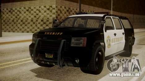 GTA 5 Declasse Granger Sheriff SUV für GTA San Andreas zurück linke Ansicht