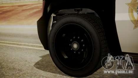 GTA 5 Declasse Granger Sheriff SUV IVF für GTA San Andreas zurück linke Ansicht