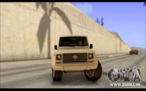 Benefactor Dubsta Jurassic World Décoration pour GTA San Andreas sur la vue arrière gauche