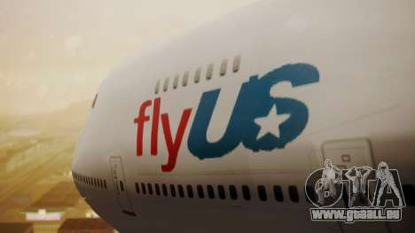 Boeing 747-200 Fly US für GTA San Andreas Rückansicht