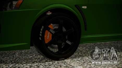 Mitsubishi Lancer Evolution X WBK pour GTA San Andreas sur la vue arrière gauche