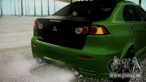 Mitsubishi Lancer Evolution X WBK pour GTA San Andreas vue de dessus