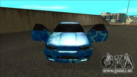 Nissan Skyline R32 Drift Blue Star für GTA San Andreas Innenansicht