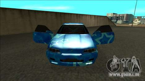 Nissan Skyline R32 Drift Blue Star pour GTA San Andreas vue intérieure