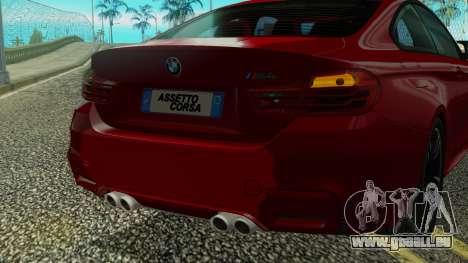 BMW M4 Coupe 2015 pour GTA San Andreas vue de dessus