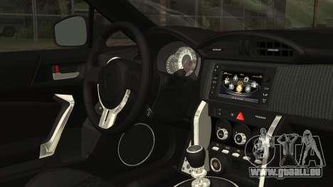 Toyota GT86 2012 LQ pour GTA San Andreas vue de droite