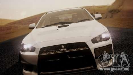 Mitsubishi Lancer Evolution X 2015 Final Edition pour GTA San Andreas sur la vue arrière gauche