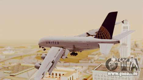 Airbus A380-800 United Airlines für GTA San Andreas linke Ansicht