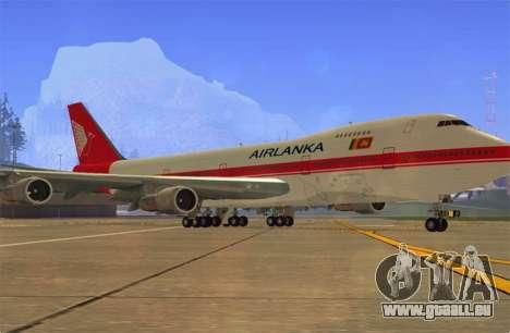 Boeing 747-200 Air Lanka pour GTA San Andreas laissé vue
