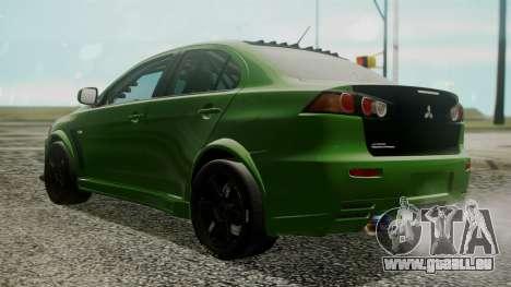 Mitsubishi Lancer Evolution X WBK pour GTA San Andreas laissé vue