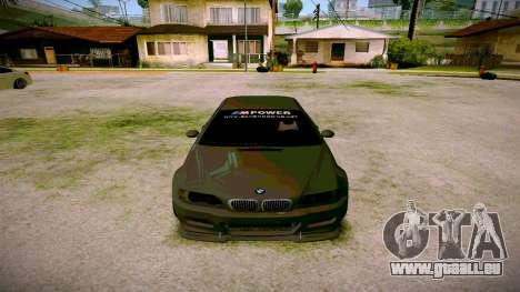 BMW E46 M3 Sport pour GTA San Andreas vue arrière