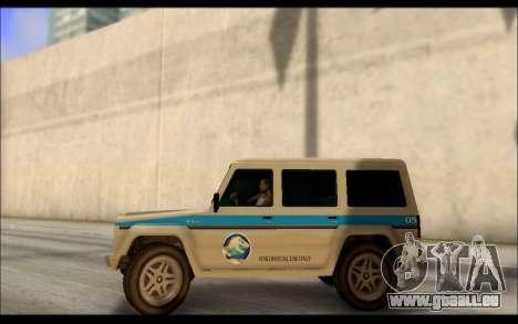 Benefactor Dubsta Jurassic World Lackierung für GTA San Andreas linke Ansicht