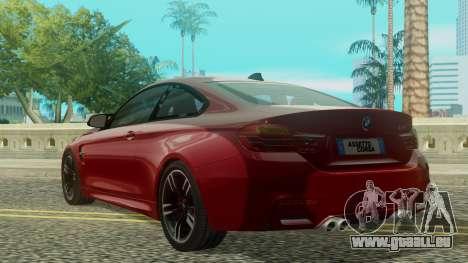 BMW M4 Coupe 2015 pour GTA San Andreas laissé vue
