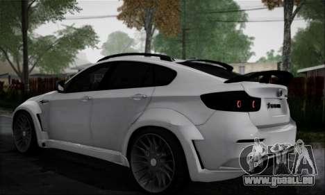 BMW X6M HAMANN Final pour GTA San Andreas sur la vue arrière gauche