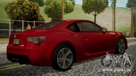 Toyota GT86 2012 LQ pour GTA San Andreas laissé vue