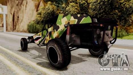 Buggy Camo Shark Mouth pour GTA San Andreas sur la vue arrière gauche