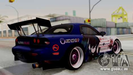 Mazda RX-7 Black Rock Shooter Itasha für GTA San Andreas linke Ansicht