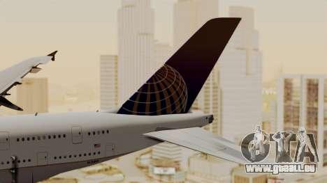 Airbus A380-800 United Airlines für GTA San Andreas zurück linke Ansicht