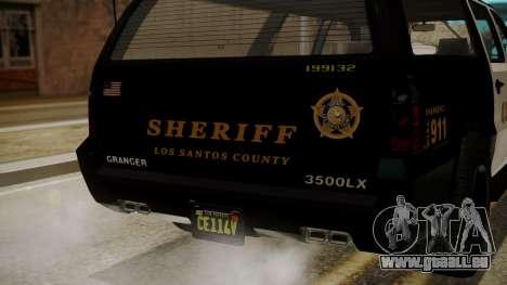 GTA 5 Declasse Granger Sheriff SUV IVF pour GTA San Andreas vue intérieure