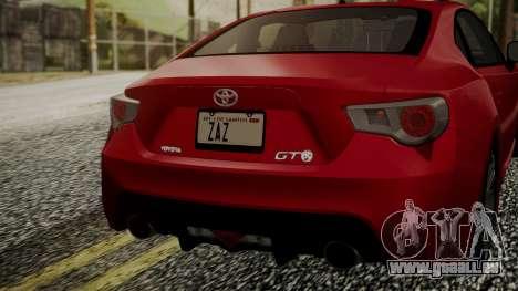 Toyota GT86 2012 LQ pour GTA San Andreas vue arrière