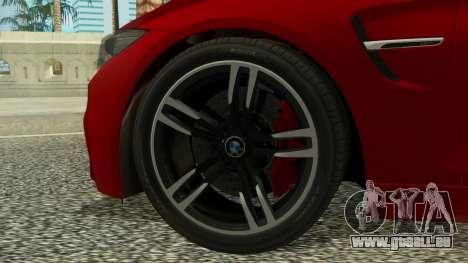 BMW M4 Coupe 2015 pour GTA San Andreas sur la vue arrière gauche