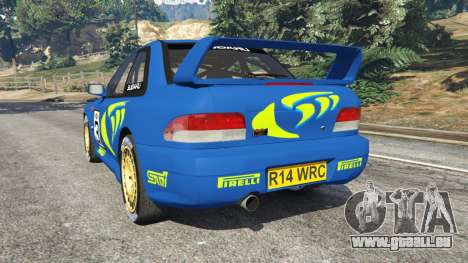 GTA 5 Subaru Impreza WRC 1998 arrière vue latérale gauche
