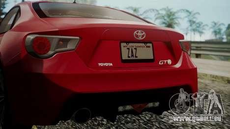 Toyota GT86 2012 LQ pour GTA San Andreas vue de dessus