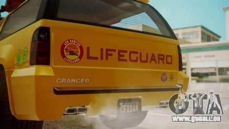 GTA 5 Declasse Granger Lifeguard für GTA San Andreas Rückansicht