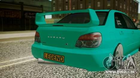 Subaru Impreza 2004 pour GTA San Andreas vue arrière