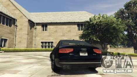 GTA 5 Audi A8 v1.1 arrière vue latérale gauche