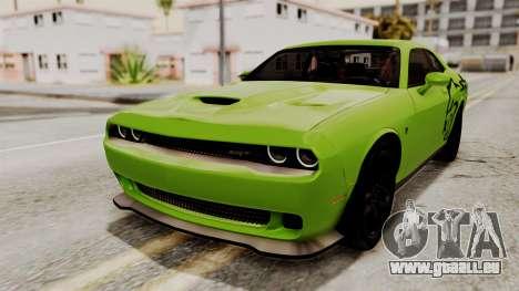 Dodge Challenger SRT Hellcat 2015 HQLM PJ für GTA San Andreas obere Ansicht
