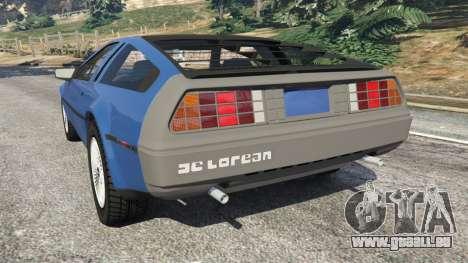 GTA 5 DeLorean DMC-12 v1.1 arrière vue latérale gauche