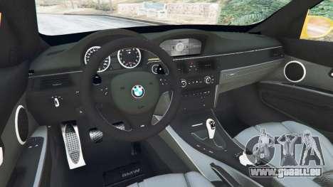 GTA 5 BMW M3 (E92) WideBody v1.1 arrière droit vue de côté